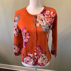 Garnet Hill Floral Cardigan